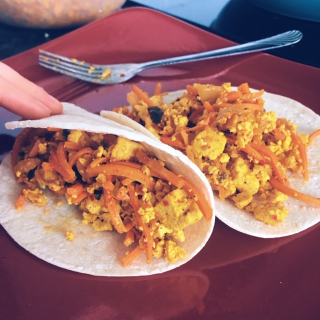 How to Make Kimchi Scramble Breakfast Tacos