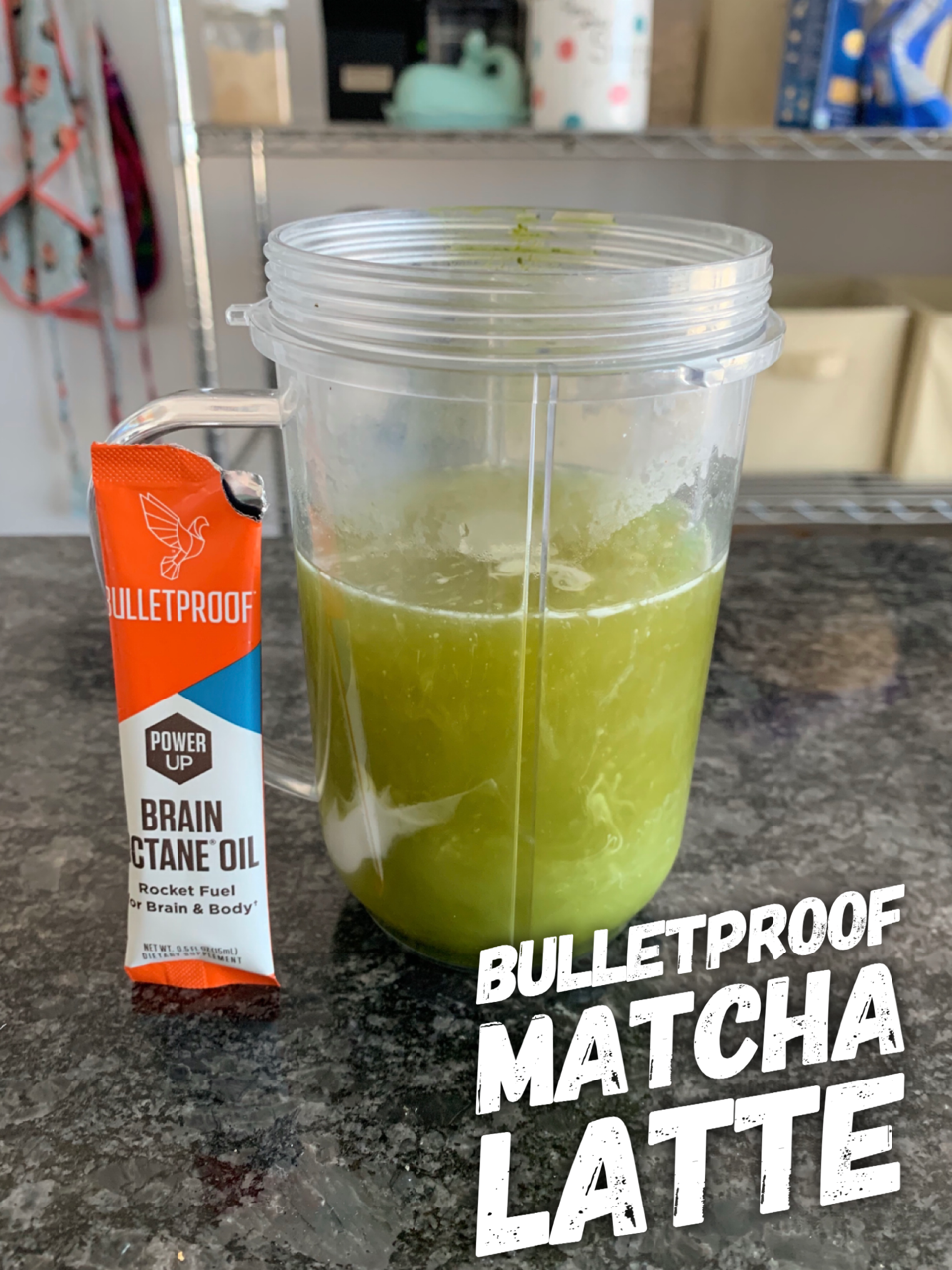 "Picture of an un-blended matcha latte next to a packet of brain octane oil with the words ""Bulletproof Matcha Latte"" imposed over it."